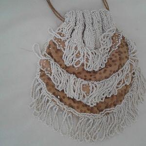 Handbags - VINTAGE BEADED DRAWSTRING PURSE